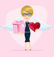 cute angel birthday greeting card vector image