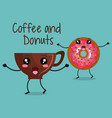 delicious coffee cup and donuts kawaii character vector image