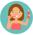 dental hygiene happy girl brushing her teeth vector image