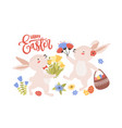 easter greeting card template with pair of cute vector image vector image