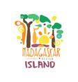 exotic summer vacation travel to madagascar logo vector image vector image