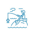 fishing activities linear icon concept fishing vector image