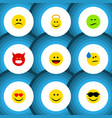 flat icon gesture set of pouting laugh frown and vector image vector image