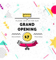 grand opening banner in memphis style vector image vector image