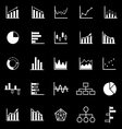 Graph icons on black background vector image vector image