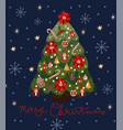 greeting card with a decorated christmas tree vector image vector image