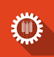 industrial and agricultural icon wheat and gear vector image vector image