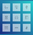 interior icons line style set with socket vector image vector image