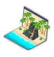 isometrics the choice of rest on the laptop the vector image vector image
