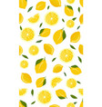 lemon fruits and slice seamless pattern vector image vector image