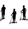 man riding electric scooter silhouettes set vector image vector image
