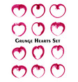 modern grunge hearts set watercolor line art vector image