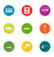 parking lot icons set flat style vector image vector image