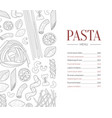 pasta menu template traditional italian cuisine vector image