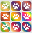 paw icon sign Nine buttons with bright gradients vector image vector image