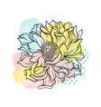 peony flower with colorful abstract backdrop vector image vector image