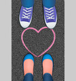 pink heart pictured on asphalt vector image vector image
