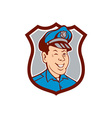 Policeman Winking Smiling Shield Cartoon vector image vector image