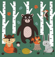 poster with animals in forest vector image vector image