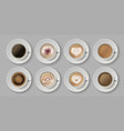 realistic coffee cup top view milk creams in vector image vector image