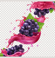 red wine or juice splash and grape brunch vector image