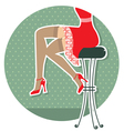 retro woman legs with fashion shoes sitting on bar vector image vector image