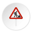 roadworks sign icon circle vector image vector image