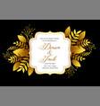 royal golden wedding invitation template design vector image