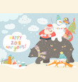 santa claus with snowman riding on the back of vector image vector image