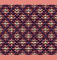 seamless violet rhombus knitting pattern vector image