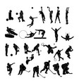 set of sports people silhouettes collection vector image vector image