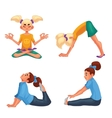Set with blond and brown haired girls doing yoga vector image