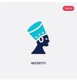 two color nefertiti icon from culture concept vector image