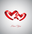 two ribbon hearts inlove vector image vector image