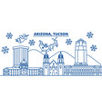 usa arizona tucson winter city skyline merry vector image vector image