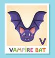 v is for vampire bat letter v vampire bat cute vector image vector image