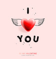 valentines day background with i love you vector image vector image