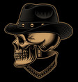 vintage cowboy skull in hat with bandana vector image vector image