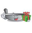 with gift cartoon wok on the kitchen utensil vector image vector image