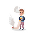 young man smoking giant cigarette harmful habit vector image