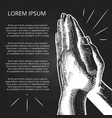 white praying hands prayer on bible vector image