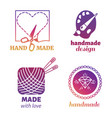 handmade hipster logo and emblems vector image