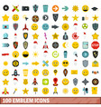 100 emblem icons set flat style vector image vector image