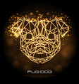 abstract polygonal tirangle animal pug-dog neon vector image vector image