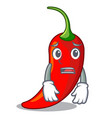 afraid hot chili pepper on cartoon table vector image vector image