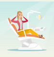 afraid woman sitting in the dental chair vector image vector image