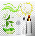 aloe drop essence and empty bottle set vector image