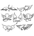 angel wings set vector image vector image