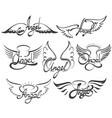 angel wings set vector image