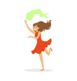 beautiful woman in red dress dancing traditional vector image vector image